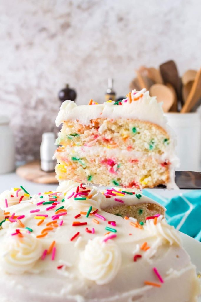 Double stack funfetti cake