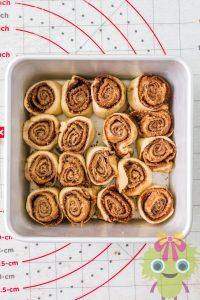 raw cinnamon roll in pan
