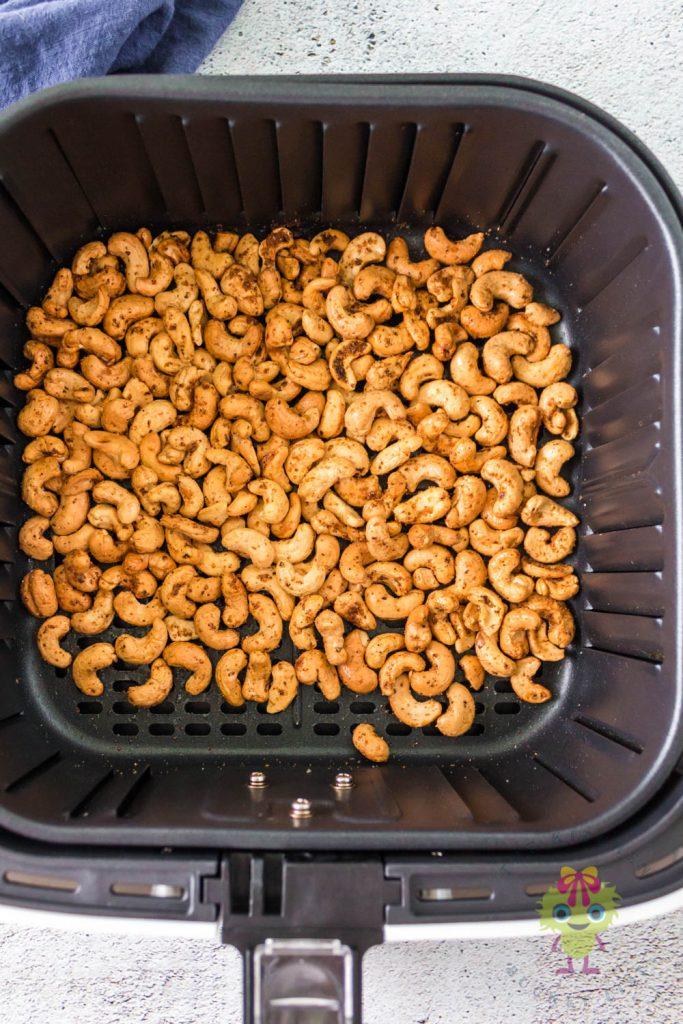 roasted cashews in air fryer basket