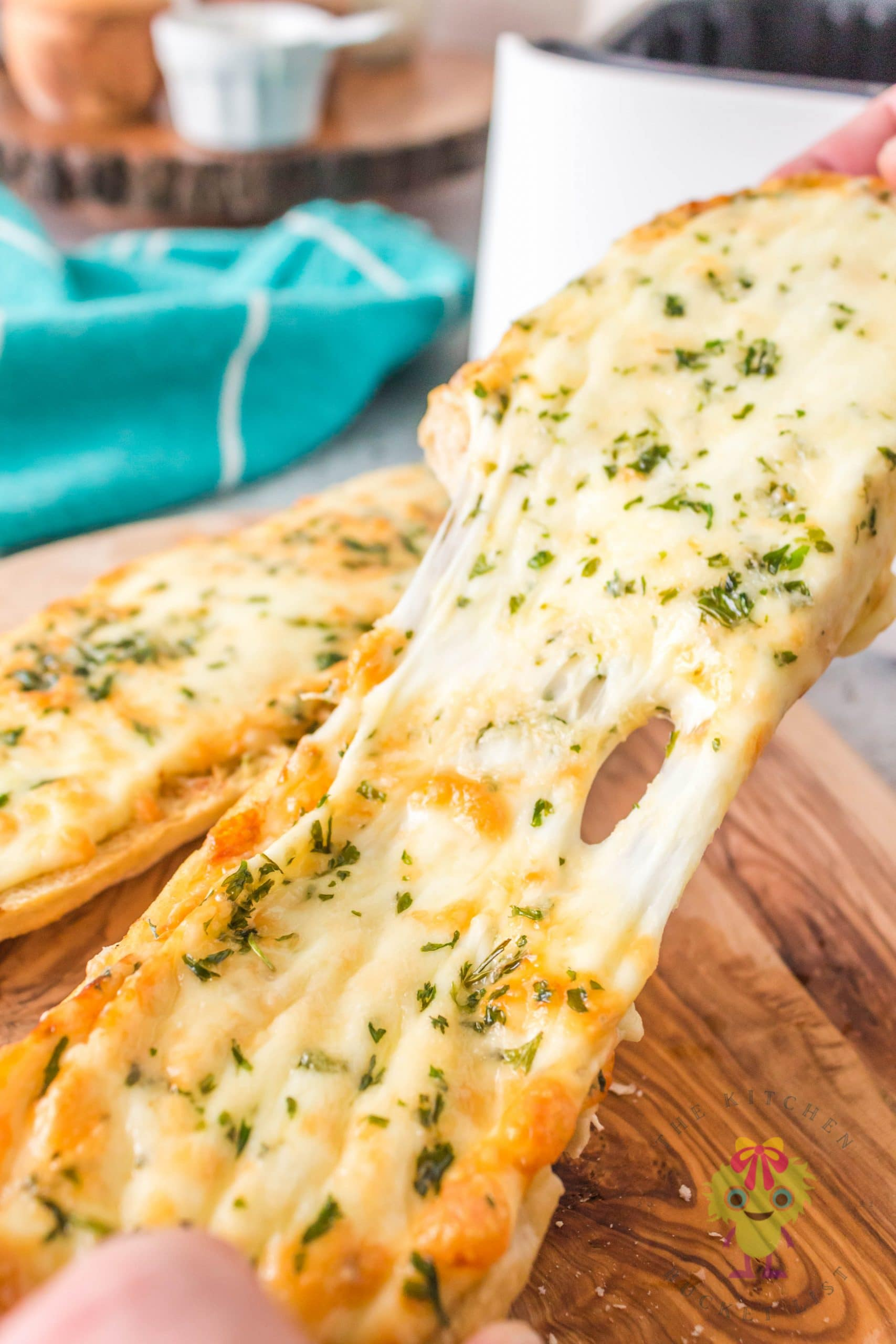 Cut cheese bread pulled apart
