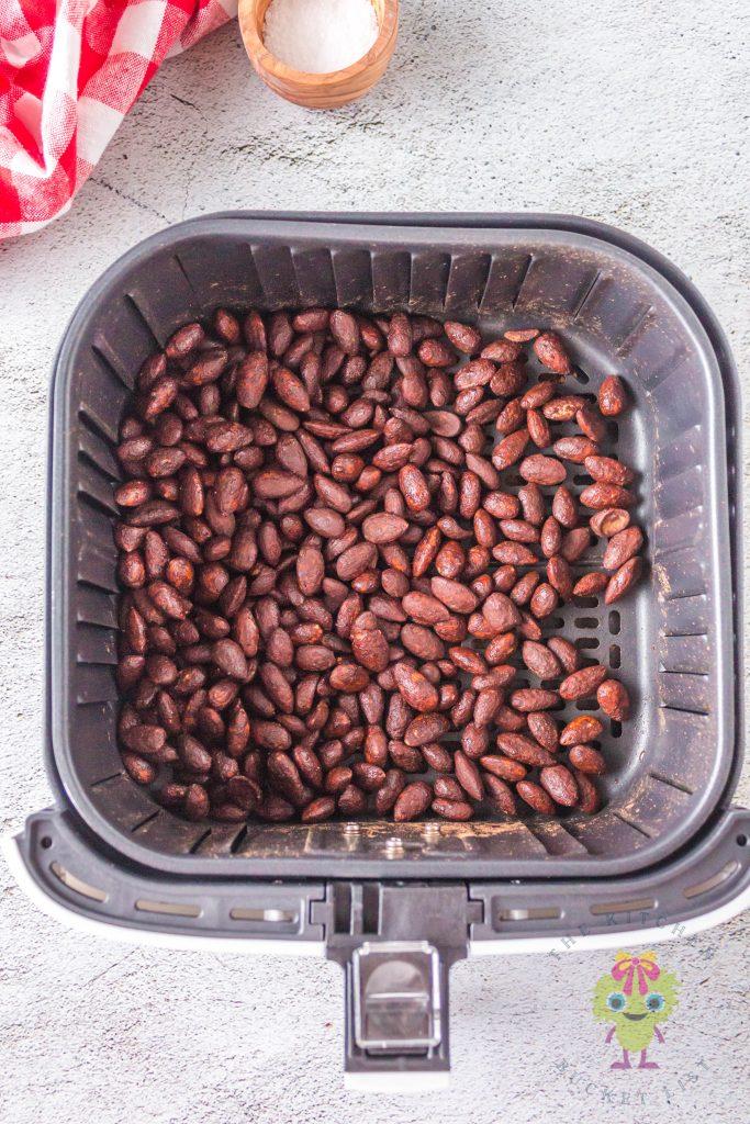 roasted almonds in air fryer basket