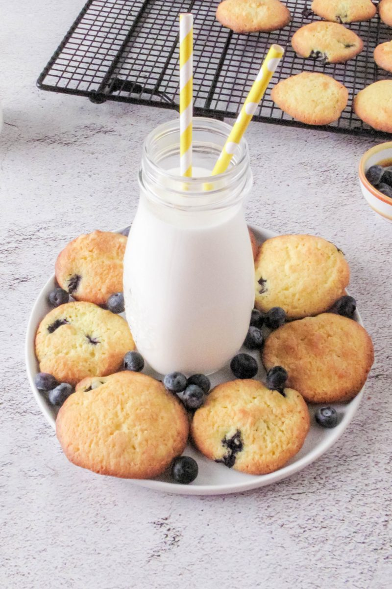 Lemon blueberry cookies and milk glass